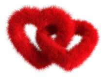 Two joined red plush hearts on white background - Isolated 3D Re Stock Photography