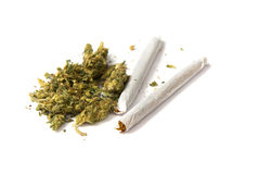 Two joints and pot Royalty Free Stock Photos
