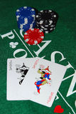 Two Jokers. On green felt and casino chips Royalty Free Stock Photo