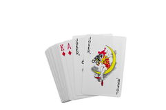 Two Jokers,king And Ace Royalty Free Stock Images