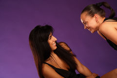 Two joy girlfriends Royalty Free Stock Image