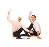 Two joyful businessmen Stock Photos