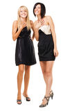 Two joyful elegant women Royalty Free Stock Image