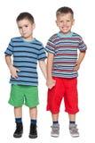 Two joyful little friends stock photo