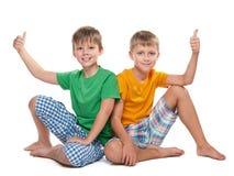 Two joyful young boys Stock Images
