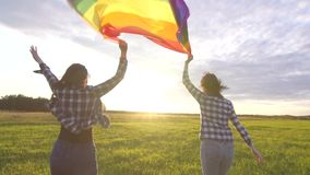 Two joyful young lesbian girls in shirts run across the field at sunset with an LGBT flag slow mo close up stock video footage
