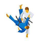 Two judo fighters in traditional blue and white colors. Martial arts competition - sambo, judo, karate, jiu jitsu, wrestling. Flat vector clip art  on white Royalty Free Stock Photos