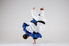 The two judokas fighters fighting men Royalty Free Stock Photography