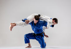 The two judokas fighters fighting men Stock Images