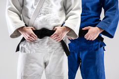 The two judokas fighters posing at studio Royalty Free Stock Photos
