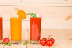 Two juices of tomato and carrot. Royalty Free Stock Photography