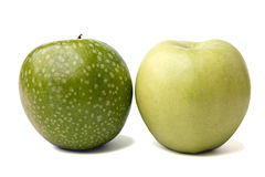 Two juicy apples. Isolated on white. Shadows is saved stock images