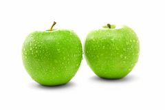 Two juicy green apples Stock Photo