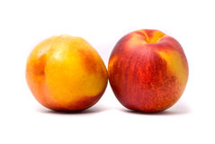 Two juicy nectarines Stock Photos