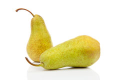 Two juicy pears with water drops Stock Images