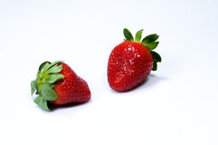 Two juicy red strawberries Royalty Free Stock Image