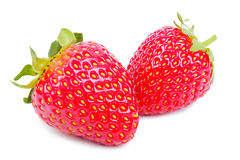 Two juicy strawberries over white. royalty free stock photos
