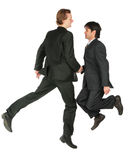 Two jumping businessmen Stock Photos