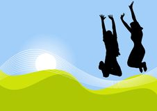 Two jumping female figures. An illustrated image suitable for a background of the silhouettes of two figures, jumping with hands held high in the air on an vector illustration