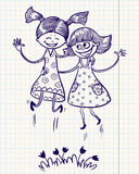 Two jumping girls. Two pretty girls jump for joy Royalty Free Stock Images