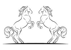 Two jumping horses. In black and white line art in black lines Royalty Free Stock Image