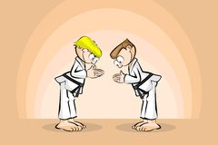 Two karate fighters in ceremonial salute Stock Photos