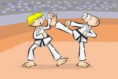 Two karate fighters Stock Image