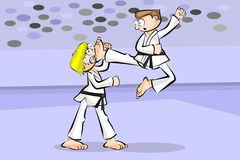 Two karate fighters Royalty Free Stock Images