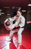 Two karate fighters showing technical skill while practicing Stock Photography