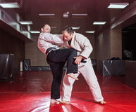 Two karate fighters showing technical skill while practicing Royalty Free Stock Photo
