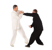 Two karate fighters. Training fight. Isolated on a white background royalty free stock image