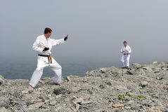 Two karateka fight Stock Photo