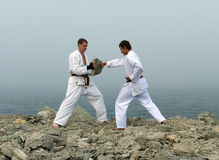 Two karateka fight Stock Image