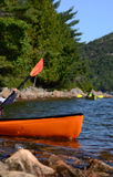 Two kayakers in lake or river Stock Image