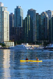 Two kayakers in Vancouvers inner harbour Stock Photos