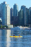 Two kayakers in Vancouvers inner harbour Stock Image
