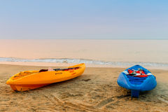 Two kayaks on the beach Royalty Free Stock Photos