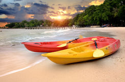 Two kayaks on the beach of the island Stock Photo