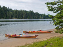 Two kayaks on beach with trees along slough Stock Images