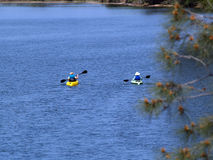 Two kayaks on blue lake paddling away Stock Images