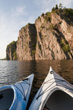 Two Kayaks Enjoy Bon Echo Cliffs Stock Image