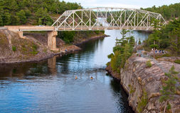 Two kayaks on French River Stock Image
