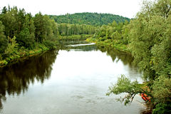 Two kayaks on Gauja river. River of Gauya current on a national park Sigulda Stock Images