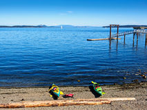 Two kayaks on the Glass Beach with a view on Mt. Baker from Sidn Stock Photo