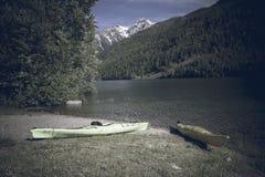 Two kayaks McDonald Lake Montana Royalty Free Stock Photography