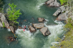 Two Kayaks in Rapids Stock Photos