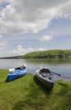 Two Kayaks on Shoreline Stock Photography