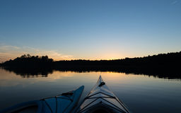 Two Kayaks at Sunset Royalty Free Stock Image