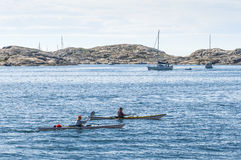 Two kayaks Swedish West Coast archipelago Royalty Free Stock Photo