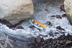 Two Kayaks In Trouble Stock Image